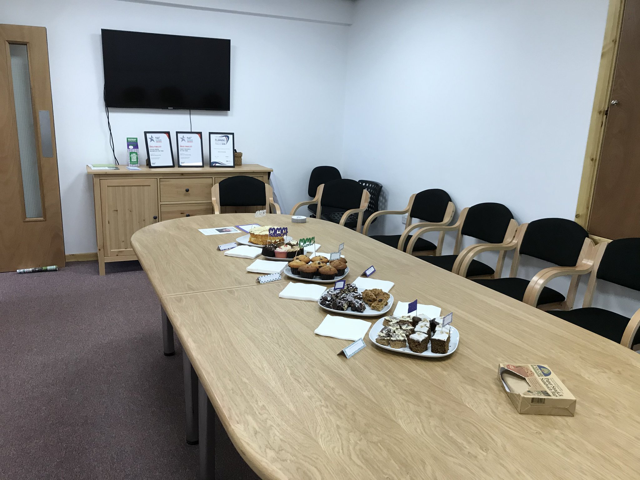 our conference table full of tasty treats