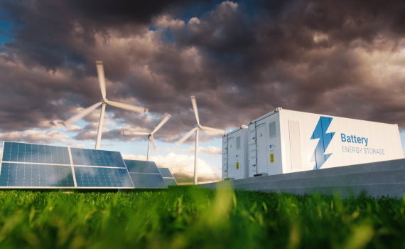 energy storage facility including solar panels and wind turbines